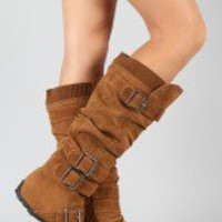BD-2523 Buckle Sweater Buckle Knee High Boot