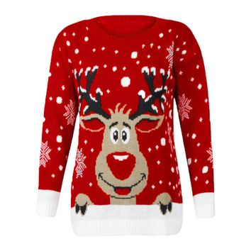 Women Christmas Deer Warm Knitted Long Sleeve Sweater Jumper Top O-Neck Casual Blouse #121