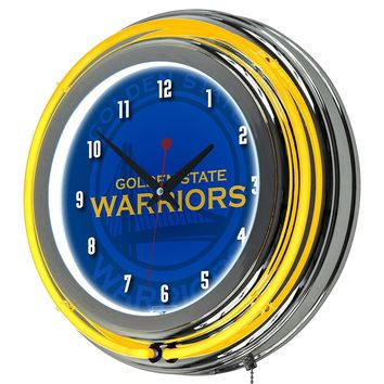 Golden State Warriors Game Room Premium Neon Clock