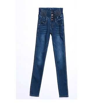 Women trousers Jeans Denim Elastic Waist High Cotton Skinny Pencil Pants Women Long Jeans Women Plus Size Lady Pants 12 Size