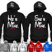 "He's Mine - She's Mine  ""Cute Couples Matching Hoodies"""