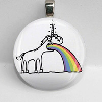 Glass Round Pendant Vomiting Unicorn Weird Cool Funny LEAD FREE Silver Bezel