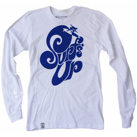 Surf's Up: Unisex Organic Fine Jersey Long Sleeve T-Shirt in White