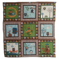 Hooty Hoot Returns, Owl Baby Quilt, Riley Blake, Baby Boy Owl Quilt, 36x36 square, Floor Quilt, Wall Hanging, Car Seat Quilt, Nursery Decor