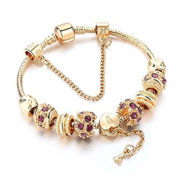 AUGUAU Charm Bracelet,Gold Plated Bracelet With Lock And Key To My Heart Beads