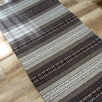 Brown and white striped handwoven wool rug - handmade of pure, natural eco-friendly undyed wool