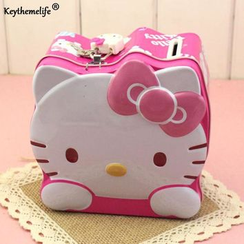 Keythemelife Lovely Moneybox Hello Kitty Coin Piggy Bank Money Box Money Saving Box with Lock candy boxes for Kids  2B