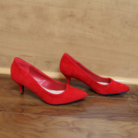 """Denty"" Suede Low Heel Classic Pumps - Red"