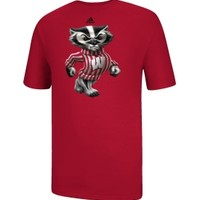 adidas Men's Wisconsin Badgers Red HD Logo T-Shirt
