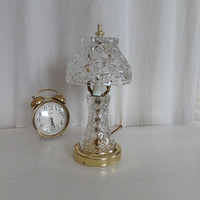 Clear Glass Dresser Lamp, Pressed Glass Base and Shade for Vanity or Bedside Table