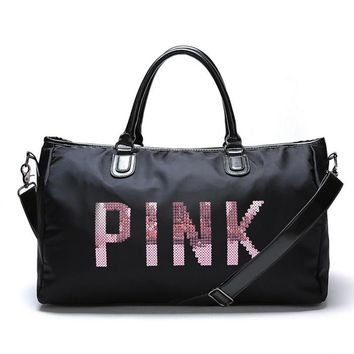 VictoriaPink sequins letters overnight bag portable large capacity gym bag waterproof duffel bag