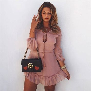 Women beach summer tunic Off shoulder long lantern sleeve chiffon vintage dress Ruffle sexy tassel slash neck Dresses