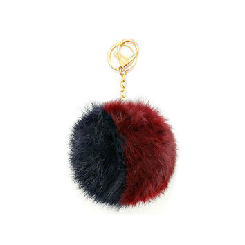 Black, Burgundy & Gold Two Tone Rabbit Fur Pom Pom Key Chain / Bag Charm Keychain, gift