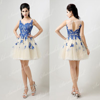 Scoop Neck Blue Lace Tulle Short Party Prom Dress Wedding Cocktail Military Ball Gown