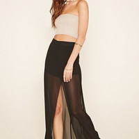 High-Slit Sheer Maxi Skirt