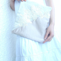 Linen lace clutch, fold over clutch, zipper clutch,  purse, geometric, flower pattern