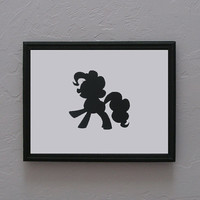 Pinkie Pie   My little Pony Friendship is Magic   Hand cut black silhouette papercut