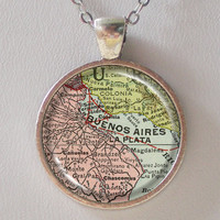 Buenos Aires Necklace - Argentina Map Necklace -Vintage Map Series