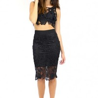 Godiva Lace Set Pencil Skirt and Crop Top