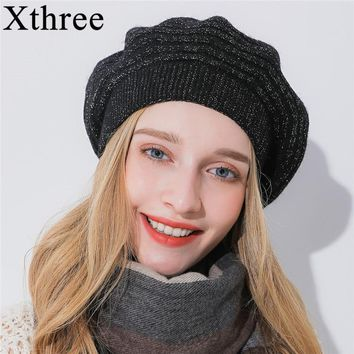 Xthree Women winter hat Cashmere beret hat Bright silk thread knitted hat Rabbit fur beret for girl fashion lady cap