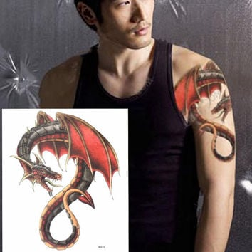 Red evil dragon Large temporary tattoos Shoulder Lower Back Waterproof temporary tattoos sticker