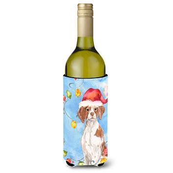 Christmas Lights Brittany Spaniel Wine Bottle Beverage Insulator Hugger CK2508LITERK