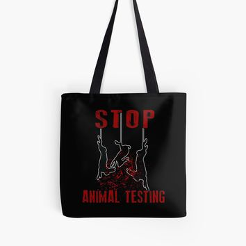 'Stop Animal Testing - Rabbits ' Tote Bag by ValentinaHramov