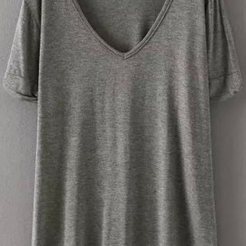 V Neck Short Sleeve T-shirt - Light Grey/White/Deep Grey/Black
