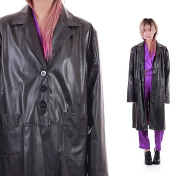 Black PVC Vegan Leather Look Long Midi Coat Minimalist Goth Futuristic Y2K 90s Vintage Clothing Womens Size Large XL
