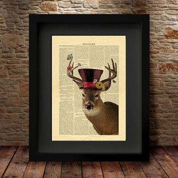 DEER PRINT, Deer gift, Deer wall decor, Deer painting, Deer antler decor GEEK Cool Dictionary Print Book Art Print, Deer Illustration -25