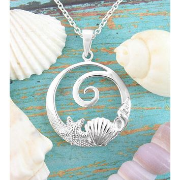 Spiral Ocean Wave Necklace With Shells & Starfish