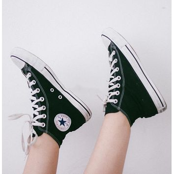 """Converse"" Trending Fashion Women Men canvas single shoes sports shoes sports shoes High Tops Black G"