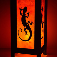 Orange Mulberry paper Table Lamp 11 inch High Lizard Lantern Beside Bedroom Lamp Decoration