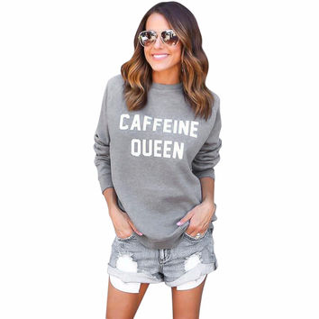 Women Casual Sweatshirt T-Shirts Letters Printed Round Neck Long Sleeve Sweater Tops Tee Shirts camisas feminina INY66