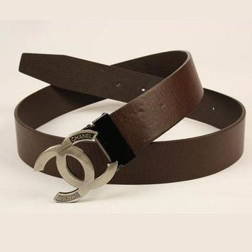 CHANEL Woman Fashion Smooth Buckle Belt Leather Belt Brown I