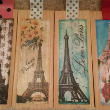 "Wooden Book Marks ""Paris"" ""Eiffel Tower""embellished with Ribbon FREE Ship in US Solid Wood, Decoupage, Book Lovers, Gift, Valentines's Day"