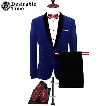 Royal Blue Men Wedding Tuxedo Suit High Quality Shawl Lapel Slim Fit Velvet Men Red Prom Suits