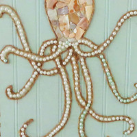Octopus Wall Art- Original Beach Decor- Mixed Media Coastal Collage- 11X17 inches