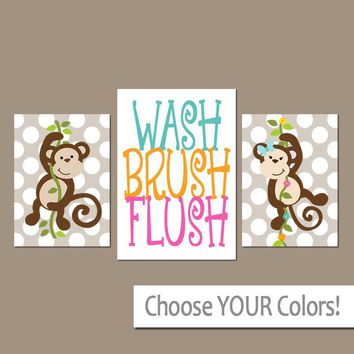 MONKEY Bathroom Wall Art, Monkey Bath Decor, Girl Boy Bathroom, CANVAS or Prints, Brother Sister, Wash Brush Flush Rules, Kid Bath, Set of 3