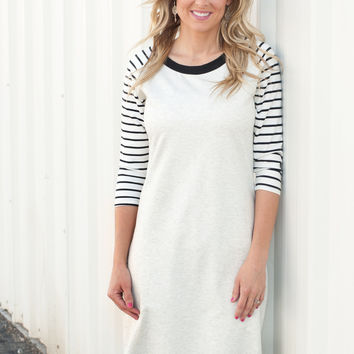 Striped Sleeve Baseball Dress