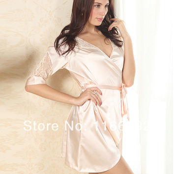 Fashion Womens Sexy Imitated Silk Casual Lingerie Sleepwear Shirts Robes Nighty