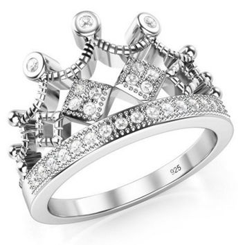 Crown Tiara CZ Band Ring 925 Sterling Silver Cubic Zirconia Princess