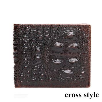 Cowather Cow Leather Men Wallet Crocodile Embossed Purse Vintage Designer
