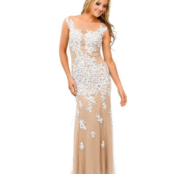 Nude & Off White Lace Beaded Appliqué Tulle Mermaid Gown 2015 Prom Dresses