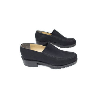 6.5 B   Walter Steiger black tire tread low platform loafers / stretch canvas low top slip on shoes / 1990s club 90s grunge / womens 6.5 b