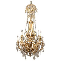 Palatial Late 19th Century Gilt Bronze and Baccarat Crystal Chandelier