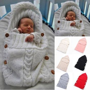 CREYMS9 Baby Infant Swaddle Wrap Warm Wool Blends Crochet Knitted Hoodie Swaddling Wrap Blanket Sleeping Bag