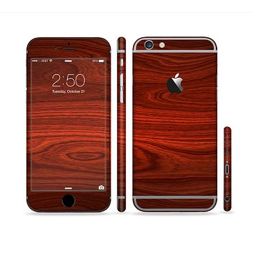 The Rich Red Wood grain Sectioned Skin Series for the Apple iPhone 6 Plus