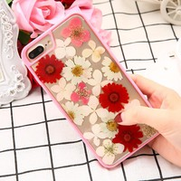 Real Dried Flowers Phone Case for iPhone 7 6 6s Plus Case Clear Soft TPU IMD Back Cover DIY dry Pressed Genuine Florals Shell