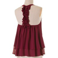 So Feminine Ruffle Back Tank Top - Garnet